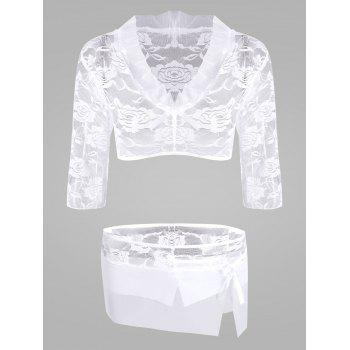 Lace Sheer Crop Top with Skirt - WHITE WHITE