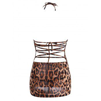Plunge Leopard Backless Slit Dress - LEOPARD PRINT PATTERN LEOPARD PRINT PATTERN
