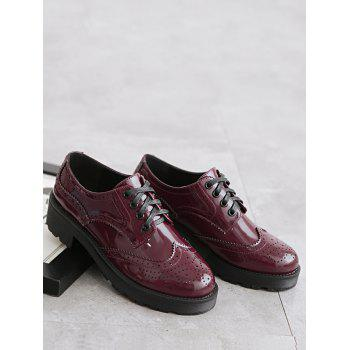 Contraste Color Wingtip Brogues Flat Shoes - Rouge vineux 34