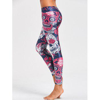 Halloween Floral Skull Print High Waist Leggings - COLORMIX M