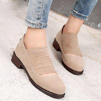 Hollow Out Fringe Low Heel Flat Shoes - Abricot 36