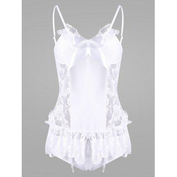 Lace Flounce Bride Babydoll Costume - WHITE ONE SIZE