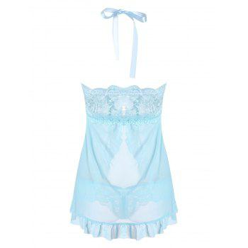 Mesh Split Babydoll with Ruffles - CLOUDY ONE SIZE