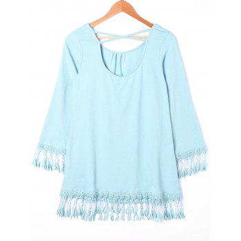 Fringed Cross Back Mini Dress - L L