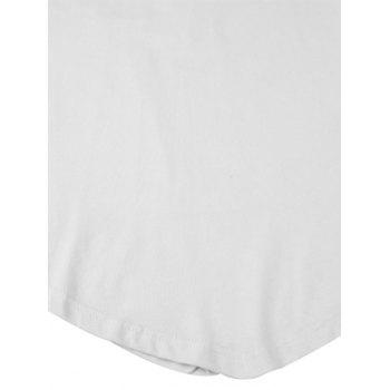 Short Sleeve Tee with V Hem - WHITE WHITE