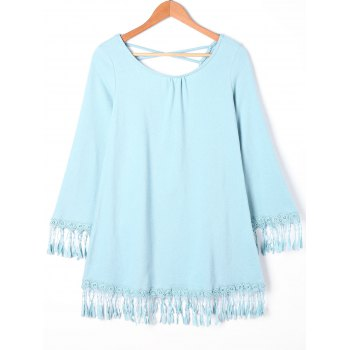 Fringed Cross Back Mini Dress - CLOUDY L