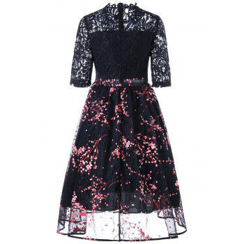 Floral Print Lace Insert Midi Dress - Noir 2XL