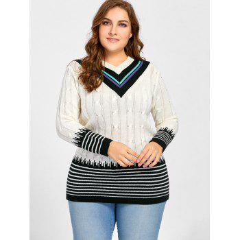Plus Size V Neck Striped Long Sweater - WHITE ONE SIZE