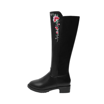 Embroidery Flower Low Heel Knee High Boots, BLACK in Boots ...