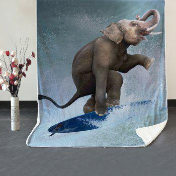 Elephant Surfing Pattern Fleece Thermal Blanket - COLORMIX W39.4INCH*L59.1INCH