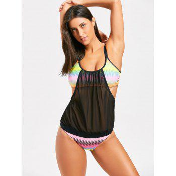 Sheer Mesh Spaghetti Strap Swimsuit - BLACK XL
