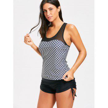 Mesh Panel Racerback Tankini Set - BLACK M