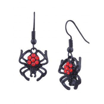 Halloween Rhinestone Spider Hook Earrings