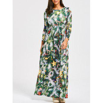 Christmas Tree Print A Line Maxi Dress
