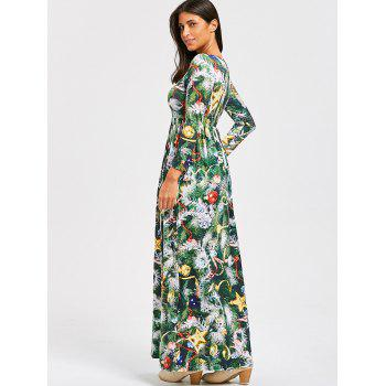 Christmas Tree Print A Line Maxi Dress - GREEN XL