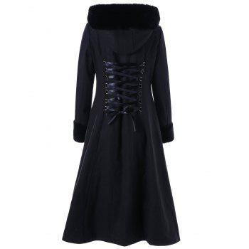 Lace Up Longline Hooded Coat