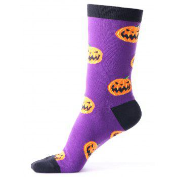 Halloween Pumpkins Tube Socks - PURPLE PURPLE