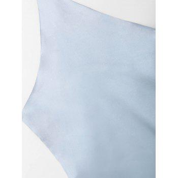 Satin Wrap Slip Dress - LIGHT BLUE S