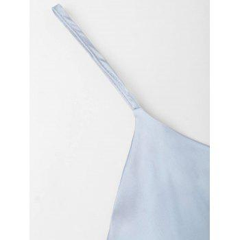 Satin Wrap Slip Dress - LIGHT BLUE M