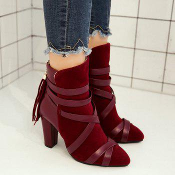 Ankle Tassel Criss Cross Boots - RED 41