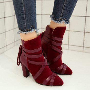 Ankle Tassel Criss Cross Boots - RED 37