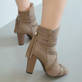 Ankle Tassel Criss Cross Boots - APRICOT 39