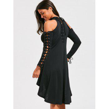 Lace-up Open Shoulder High Low Choker Dress - BLACK BLACK