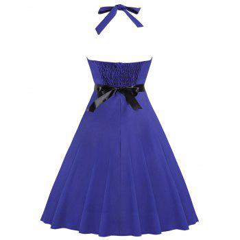 Fit and Flare Halter Vintage Dress - BLUE L