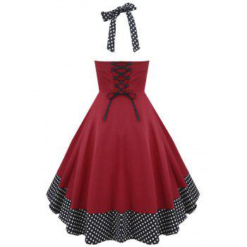 Halter Lace Up Polka Dot Vintage Dress - RED 2XL