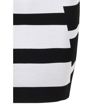 Two Tone Color V Neck Bandage Dress - BLACK WHITE M