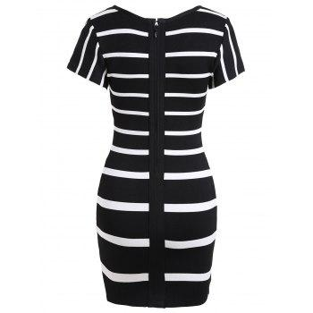 Two Tone Color V Neck Bandage Dress - BLACK WHITE L