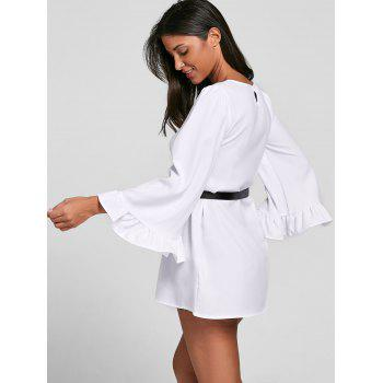 Bell Sleeve Tunic Belt Blouse - WHITE XL