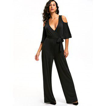 Open Shoulder Low Cut Surplice Jumpsuit - M M