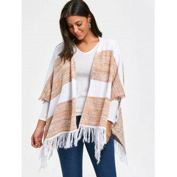 Color Block Asymmetric Fringe Poncho Cardigan - COLORMIX ONE SIZE