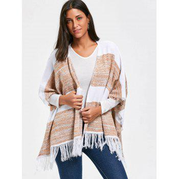 Color Block Asymmetric Fringe Poncho Cardigan - COLORMIX COLORMIX