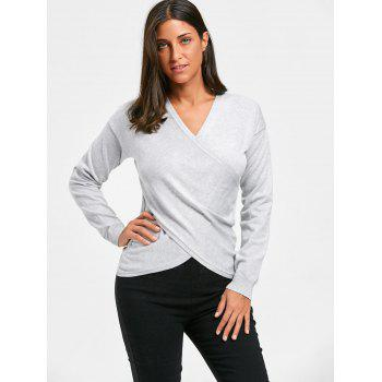 V Neck Criss Cross Sweater - GRAY ONE SIZE