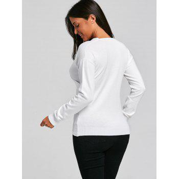 V Neck Criss Cross Sweater - WHITE ONE SIZE