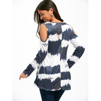 Cold Shoulder Long Sleeve Printed Tunic Top - COLORMIX S