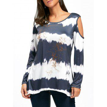 Cold Shoulder Long Sleeve Printed Tunic Top - COLORMIX COLORMIX