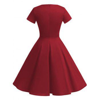 Vintage Fit and Flare Knee Length Dress - RED XL