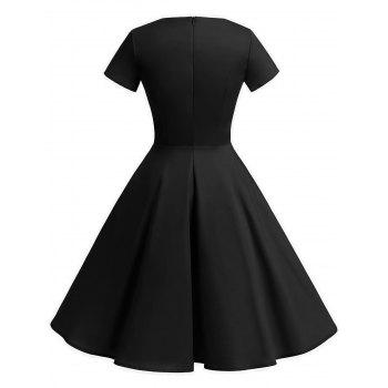 Vintage Fit and Flare Knee Length Dress - BLACK L