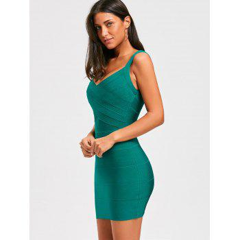 Sleeveless Open Back Bandage Dress - GREEN L