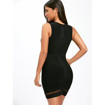 Mesh Insert Cut Out Robe de vendange sans manches - Noir M