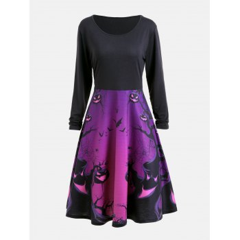 Long Sleeve Halloween Ghost Print Flare Dress