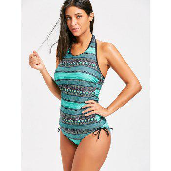 Tribal Print Open Back Swimsuit - COLORMIX XL