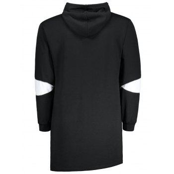 Zipper Color Block Pocket Long Hoodie - Noir M