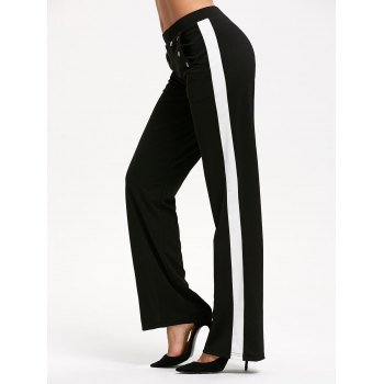 Casual Color Trim Straight Pants with Pocket - Noir 2XL