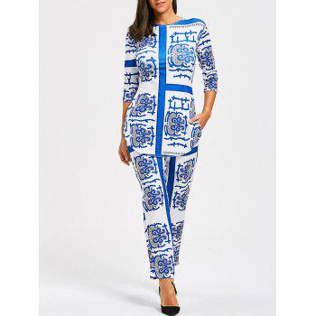 Porcelain Print Slit Tee and Pants - CLOUDY S