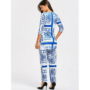 Porcelain Print Slit Tee and Pants - M M