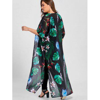 Plus Size Tropical Printed High Slit Maxi Collarless Top - GREEN GREEN